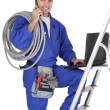 Electrician on a phone — Stock Photo