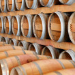 Stock Photo: Wine barrels in winery