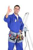 Electrician ok gesture — Stock Photo