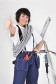 A female artisan doing thumbs up — Stock Photo