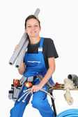 Plumber woman with tools — Stock Photo