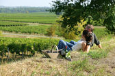 Couple having picnic in the vineyard — Stock Photo