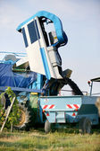 Vehicle being used to harvest grapes — Stock Photo