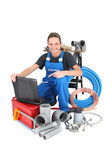 Female plumber with equipment, studio shot — Stock Photo