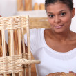 Stock Photo: Baker posing with her bread