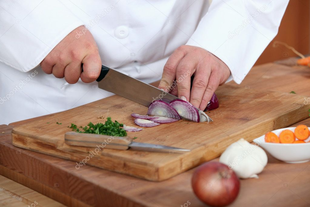 Chef chopping onions — Stock Photo #11800471