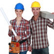 A couple of construction worker. — Stock Photo