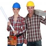 建設労働者のカップル — ストック写真