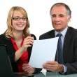 Colleagues with a laptop — Stock Photo #11845813