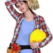 Tired female builder - Stock Photo