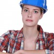 Portrait of female bricklayer — Stock Photo #11846050