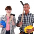 Craftsman and craftswoman posing together — Stock Photo #11846075