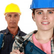 Stock Photo: Male and female laborers