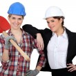 Stock Photo: Female builder with female architect