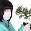 Female doctor with banzai tree — Stockfoto