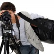 Little boy dressed as cameraman — Stock Photo #11846615