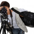 Little boy dressed as cameraman - Stock Photo