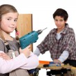 Children pretending to be builders — Stock Photo #11846637