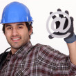 Workers with email symbol — Stock Photo