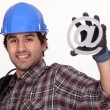 Workers with email symbol - Stock Photo