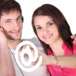 Royalty-Free Stock Photo: Couple of technophiles
