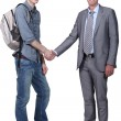 Student shaking teacher&amp;#039;s hand - Stock Photo