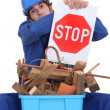 Stock Photo: Builder suggesting stop wasting materials