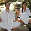 Stock Photo: Couple meditating in garden