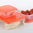 Food in plastic containers — Stock Photo