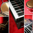 Collage of musical instruments - Foto Stock