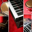 Collage of musical instruments — Foto Stock