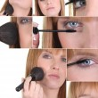 Royalty-Free Stock Photo: Montage of a woman applying makeup