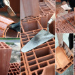 Montage of bricklayer at work - Stock Photo