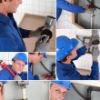 Plumber installing a water system - Stock Photo