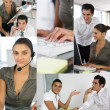 Montage of two office workers — Stock Photo