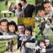 Montage of couple visiting the countryside — Photo