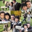 Montage of couple visiting the countryside — Stock Photo