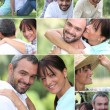 Mosaic of happy couple at the park — Stock Photo #11847272