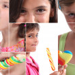 Stock Photo: Montage of children with lollipops