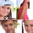 Montage of two children with plants — Stok fotoğraf