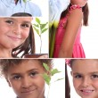Montage of two children with plants — Stock Photo #11847312
