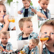 Collage of little boy drinking to baby bottle — Stock Photo