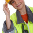 Little girl dressed in construction outfit — Stock Photo #11847326