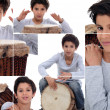 Montage of young boy with African drum — Stock Photo