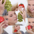 Collage of woman eating fruits and vegetables — Stock Photo