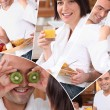 Mosaic of pictures of a couple having breakfast — Stock Photo