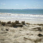Sandcastles on a beach — Stock Photo
