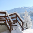 Snowy steps to a wooden chalet — Stock Photo
