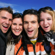 Portrait of friends on a skiing holiday together — Stock Photo