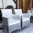Stock Photo: Snow covered chairs